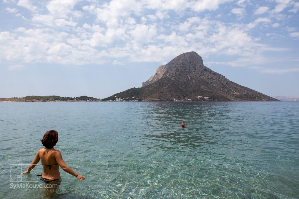 Telendos as seen from a beach on Kalymnos